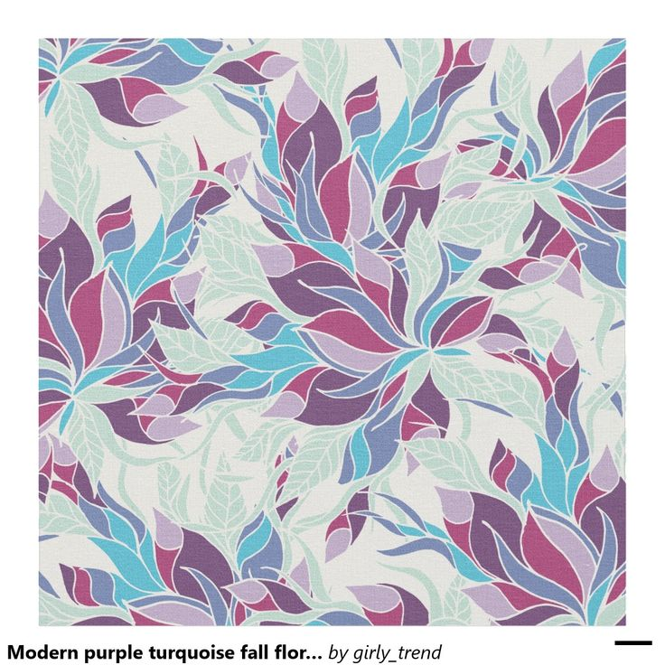 Modern purple turquoise fall floral pattern fabric