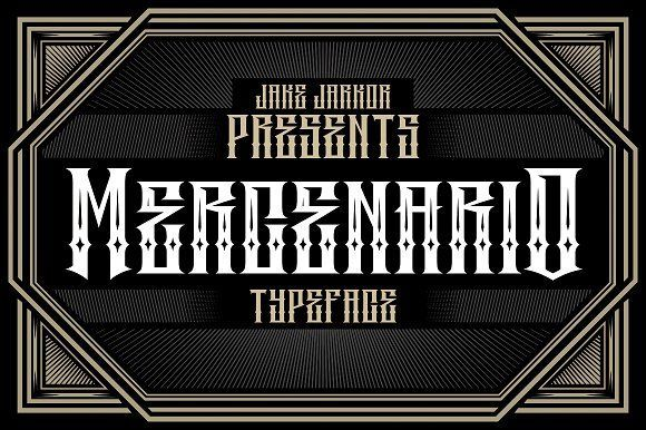 Jake Jarkor Presents: MERCENARIO is a typeface inspired in tattoo letters, vintage signs and street art. It works well with normal size text, but it works even better for large displays, short words, or even just to incorporate a few or single characters in a design. Suitable for many creative products & tattoo designs, like posters, t-shirt, street wear, logo, signage, headlines, etc.