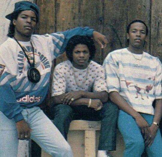A young Ice Cube, Eazy E and Dr. Dre (Left to Right) http://stores.ebay.com/urbanartdesigns