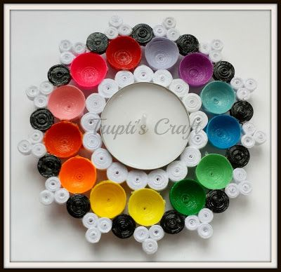 Trupti's Craft: Multi Purpose Multi Color Paper Quilling Tea Light Candle Holder