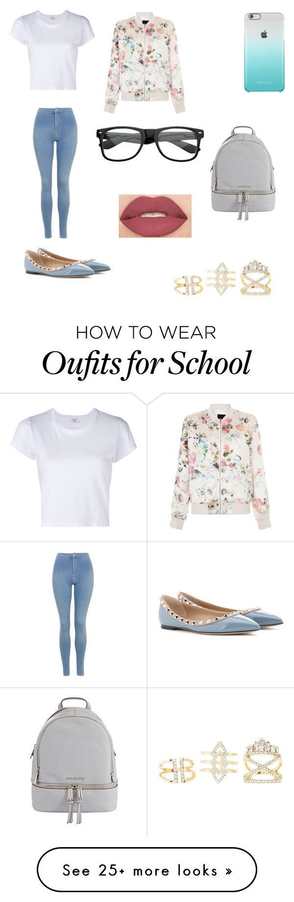 """School outfit"" by junebug02 on Polyvore featuring RE/DONE, Topshop, MICHAEL Michael Kors, Valentino, New Look, Charlotte Russe and Smashbox"
