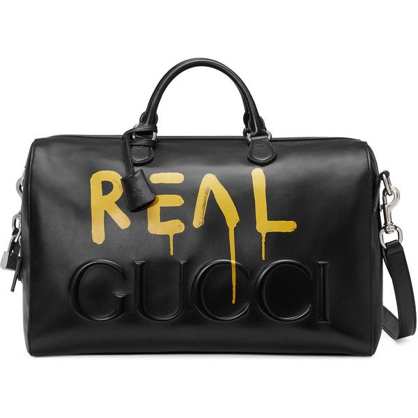 Guccighost Duffle ($2,980) ❤ liked on Polyvore featuring men's fashion, men's bags, mens duffle bags, gucci mens bag, mens leather duffle bag and mens leather bags