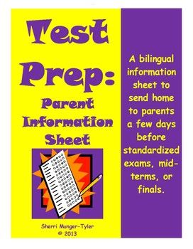 A short-and-sweet parent information sheet to send home just before standardized exams or finals, this handout is full of practical, easy-to-implement ideas parents can use to help their child(ren) be ready for the big day! Presented in both English and Spanish! $3.60