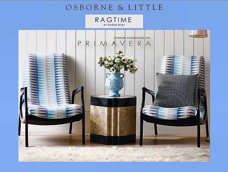 #ragtime #by #margoselby #from #osborneandlittle #collection #at #primaverainteriorfurnishings #showroom #160 #pears #avenue #toronto #ontario #canada #blue #colors #baby #navy #sky #beutiful #interior #design #indoor #outdoors #fabrics #furniture #designer