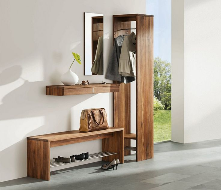 Brown Color Modern Hallway Furniture With Small  Hanging Space Easy Shoes Rack Simple Mirror Flower Decor Grey Floor Color Plain Wall Paint Exclusive Modern Hallway Furniture and Your Bright Entryway Furniture