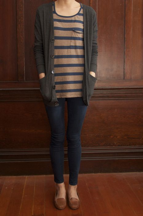 I would wear this every day if I could, it's basically all of my favorite things. Brown and grey striped tee. Cardigan. Skinnies. Loafers.