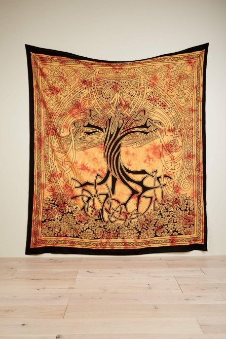 yellow celtic tree tapestry