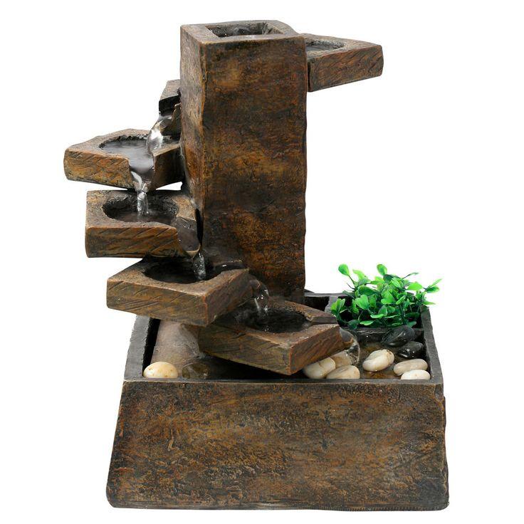 Resin Step Stone Tiered Fountain Pet Water Friendly Indoor Outdoor Home Garden #Garden