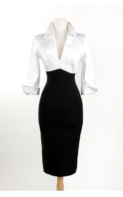 Pinup Girl Clothing- Lauren Dress in White and Black | Pinup Girl Clothing. I used to have a grey one like this that I absolutely loved back when I was a size 6...