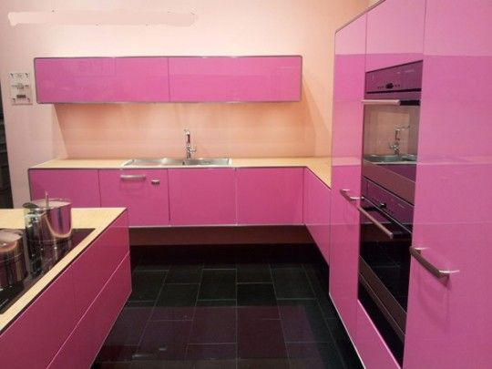 delightful kitchen set with black ceramic flooring idea and pink white cabinetry kitchen idea using chrome handles and white marble countertop design and - Magenta Kitchen Design