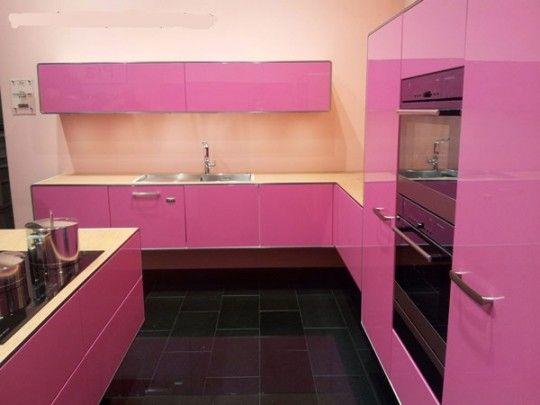 Pink Glossy Modern Kitchen