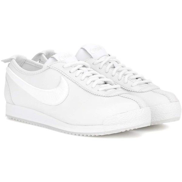 Nike Nike Classic Cortez Leather Sneakers (165 AUD) ❤ liked on Polyvore featuring shoes, sneakers, white, white shoes, white leather shoes, white trainers, leather trainers and nike