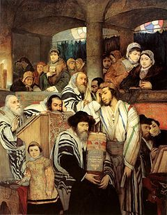 Yom Kippur (Hebrew: יוֹם כִּפּוּר, IPA: [ˈjom kiˈpuʁ], or יום הכיפורים), also known as Day of Atonement, is the holiest day of the year for the Jewish people.[1] Its central themes are atonement and repentance. Jewish people traditionally observe this holy day with an approximate 25-hour period of fasting and intensive prayer, often spending most of the day in synagogue services.