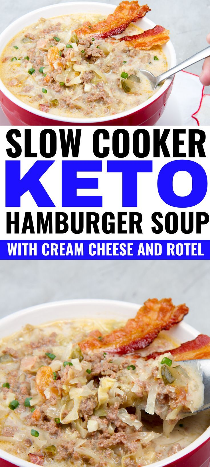 Slow Cooker Keto Hamburger Soup With Cream Cheese And Rotel Recipe Hamburger Soup Soup With Ground Beef Healthy Recipes