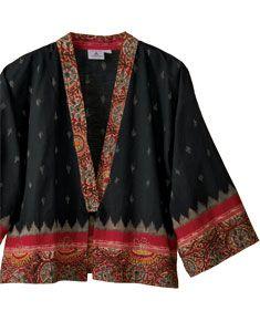 Kimono-style Sikkim Jacket - ikat, kalamkari and hand embroidery, handwoven cotton -  marketplace india