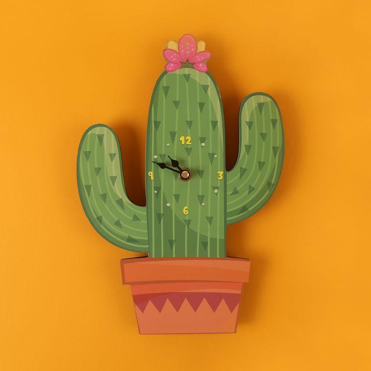 Nástěnné hodiny Kaktus #clock #hodiny #Kaktus #Cactus