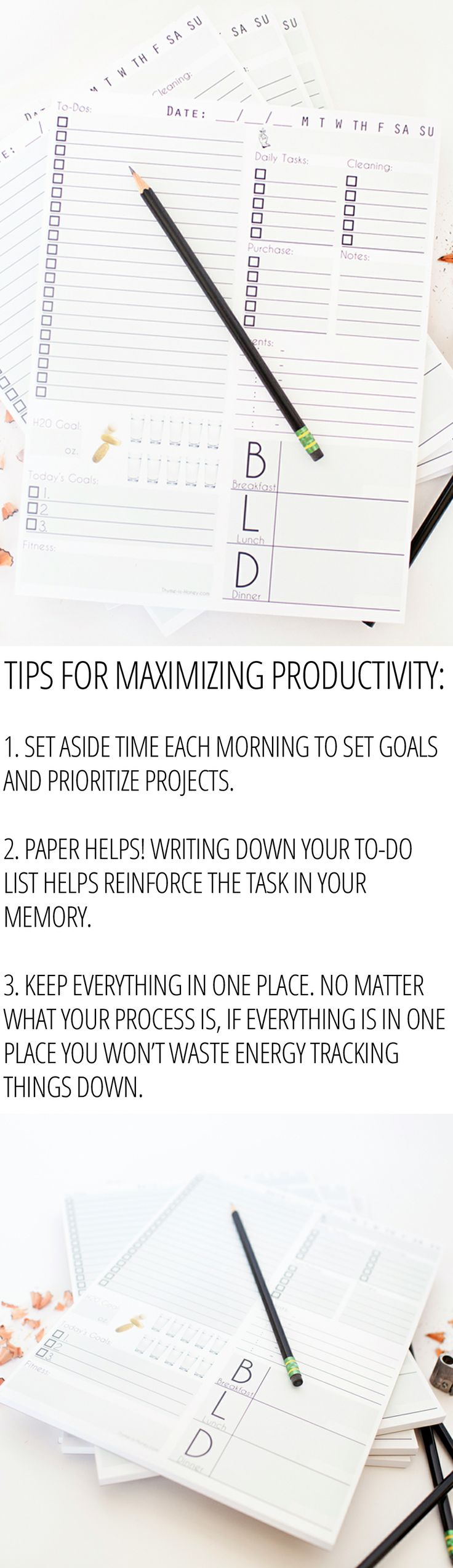Tips for maximizing your productivity using the daily page notepad---organize your entire day on one page.