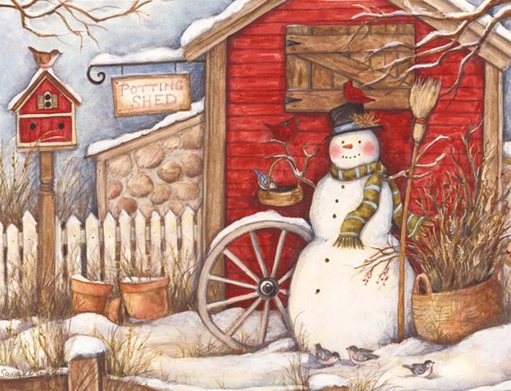Winter Barn Christmas Cards by Susan Winget