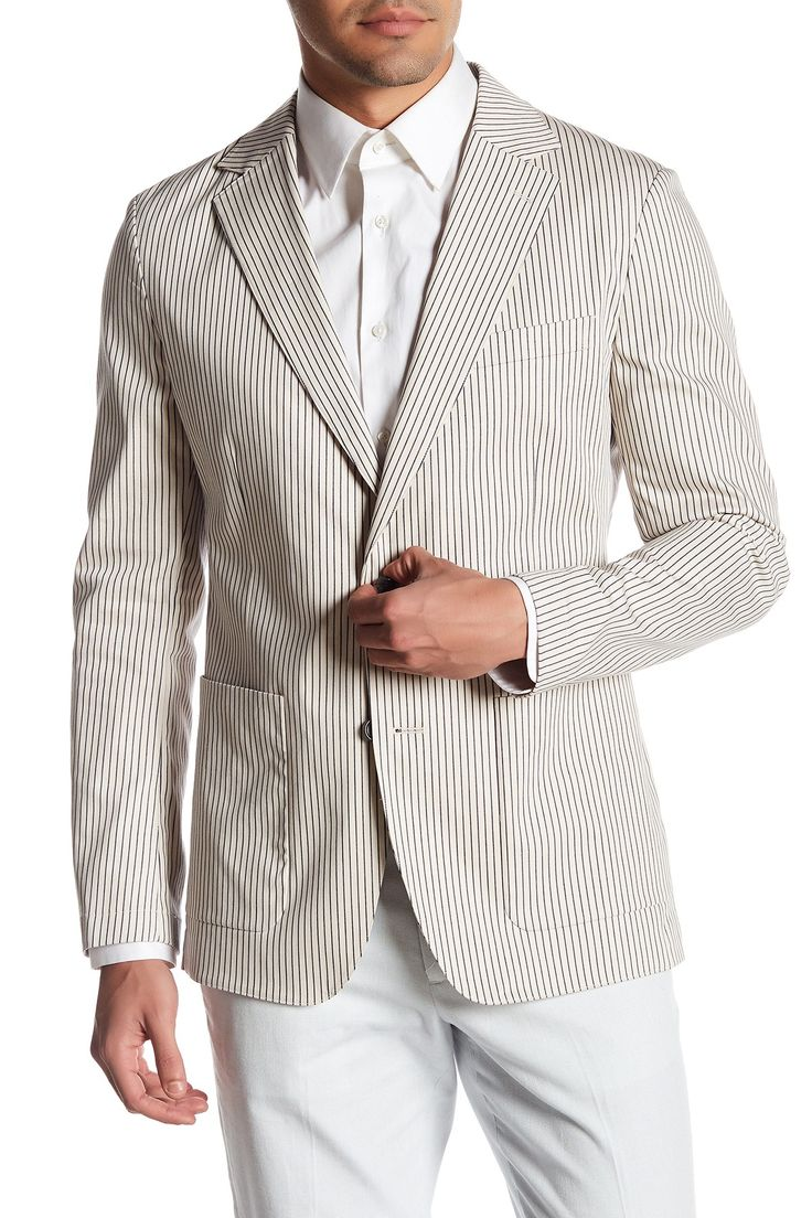 Jetsetter Grey Striped Two Button Notch Lapel Cotton Slim Fit Blazer