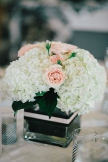 Classy Pale Pink And White Floral Centrepieces With Spray Roses Hydrangea In A Square Glass Vase For More Cheap Wedding Centerpiece