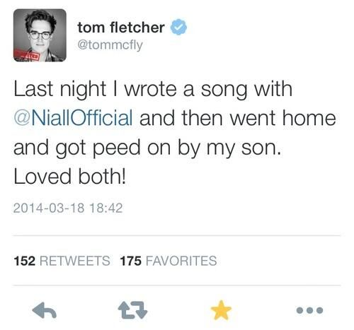 Niall was writing with Tom from McFly yesterday