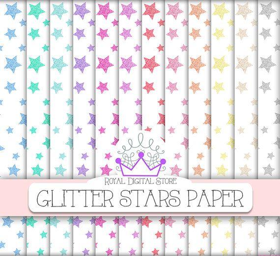 "Glitter Stars Digital Paper: "" Glitter Stars Digital Paper"" with glitter stars background in pastel colors, colorful glitter stars #glitter #colorful #digitalpaper #scrapbookpaper"