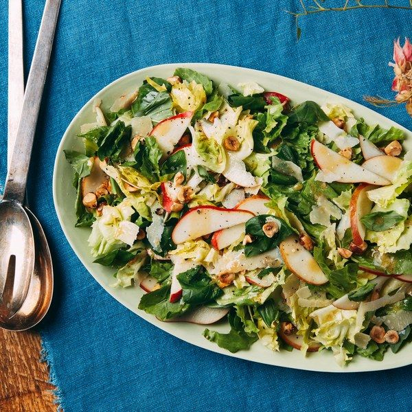 Escarole, Pear, Parmesan, and Basil Leaf Salad