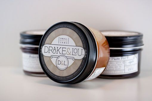 project by Miller Creative: packaging for Drake & Lou, asmall-batch jam maker, which features labels letterpressed byVote for Letterpress.