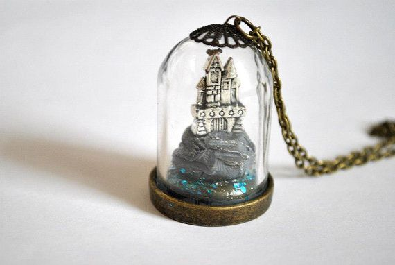 Miniature Castle Above the Sea Glass Dome by LittleRedOnePlugs, £25.00