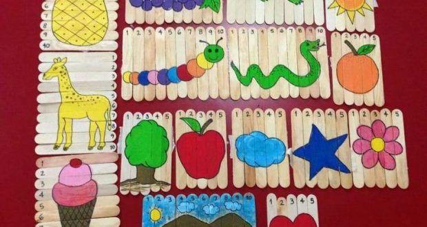 Dil çubukları ile eğitici oyuncak puzzle yapımı - Okul Öncesi Eğitici Oyuncak Yapımı