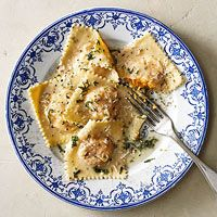 Butternut Squash Ravioli with Rosemary-Sage Butter Recipe. Easy to make squash ravioli, thanks Rachael Ray!
