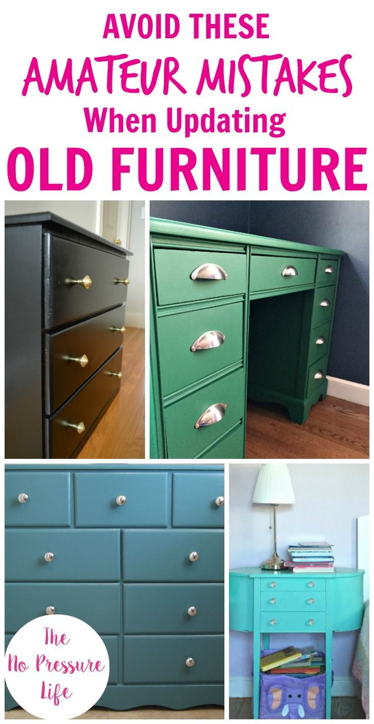 Love a good thrift store furniture makeover and want to learn how to update old furniture with paint? Then avoid these mistakes! Painting an old dresser, table, or headboard is a great DIY project for beginners, but if you want a great finish then you'll need these tips! Check out the before and after photos and get ideas for revamping old furniture the right way. #diytips #furnituremakeover #furnitureideas #furniturepaint #diyprojects #paintedfurniture via @nopressurelife