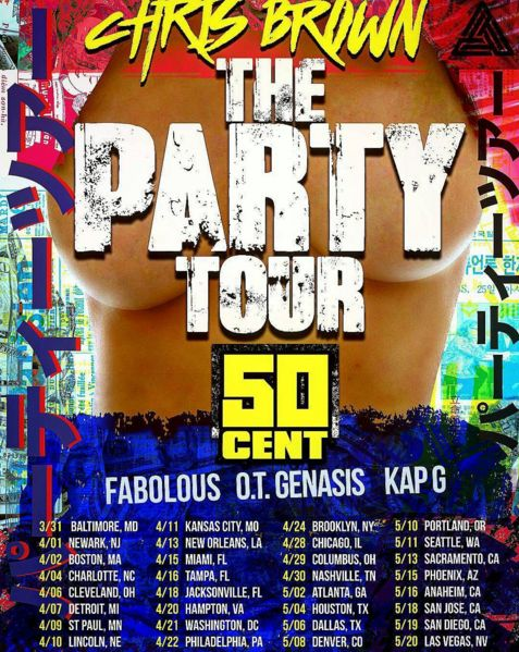 Chris Brown just announced that he's going to be hitting the road soon on his upcoming 'The Party Tour'. The tour will feature 50 Cent, Fabolous, French Montana, O.T. Genasis, and Kap G. The dates