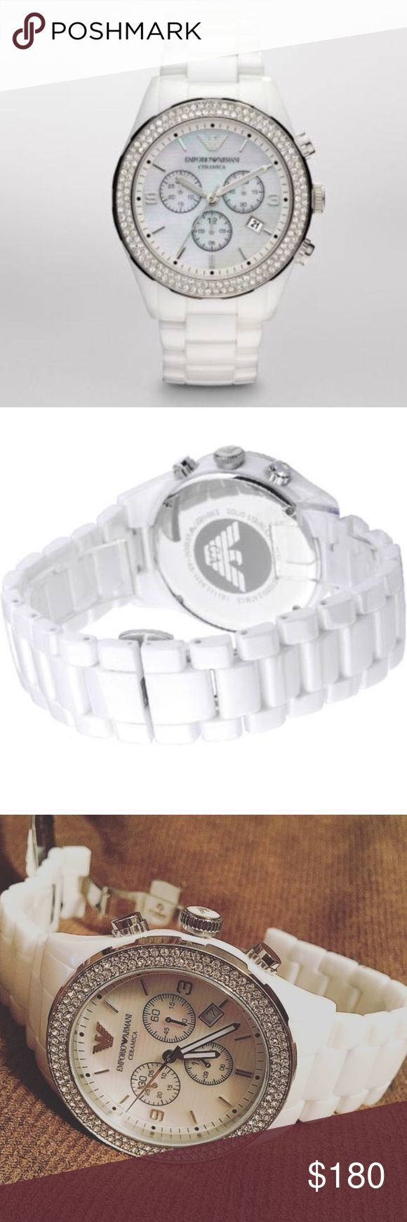 "White Ceramic Emporio Armani Watch Women's white ceramic Emporio Armani watch. Has two rows of Swarovski crystals around the bezel, mother of pearl face, and chronograph feature. Watch is NEW with defects. Never warn, new with tags! However, the chronograph (stopwatch function) resets to the ""10"" hand instead of ""12"" hand. Battery works, everything is in excellent condition! Original AR box not included. Authentic. No trades! Emporio Armani Accessories Watches"