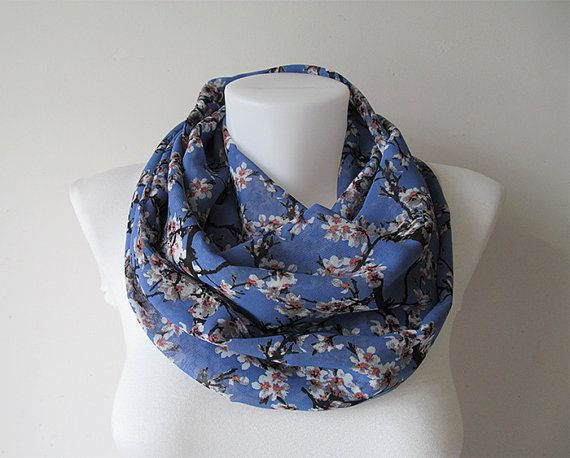 Floral Infinity Scarf Blue Circle Scarf Chiffon Infinity