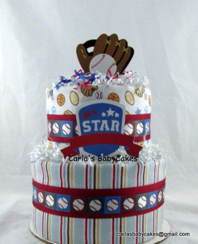 Baseball Diaper Cake Sports Diaper Cake Boy by MsCarlasBabyCakes, $45.00