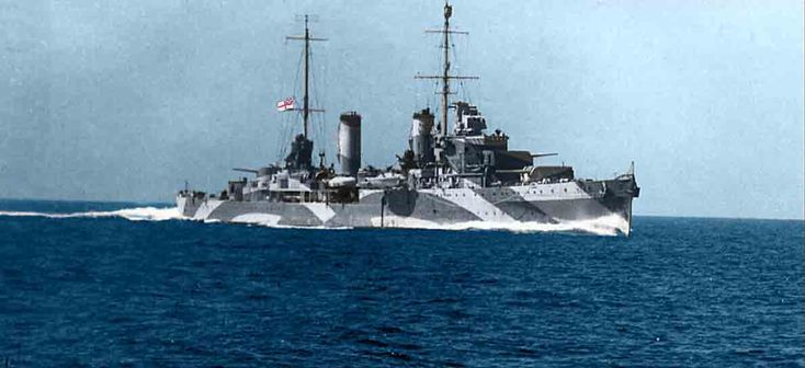 HMAS Perth, colorized.  Australia acquired her from UK in 1939.  She sank in combat off Java in early 1942