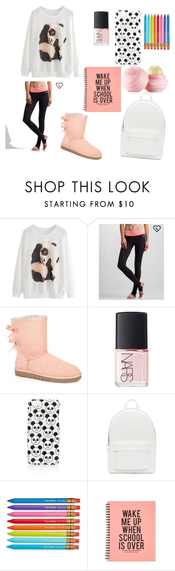 """""""PJ day at school on Monday"""" by ahriraine ❤ liked on Polyvore featuring Aéropostale, UGG Australia, NARS Cosmetics, Topshop, PB 0110, Paper Mate and Eos"""
