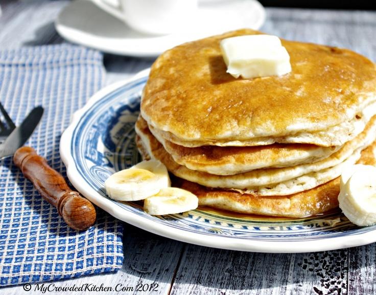 Banana Pancakes With Brown Sugar Rum Syrup, Best Pancake Recipe, Money ...