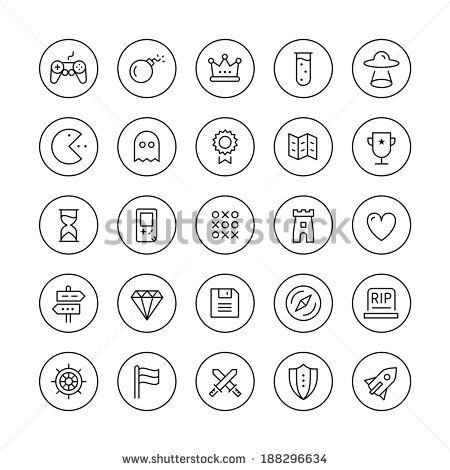Flat thin line icons set modern design vector collection of game playing award, retro gaming symbol collection, play classic games on video console with game controller. Isolated on white background.