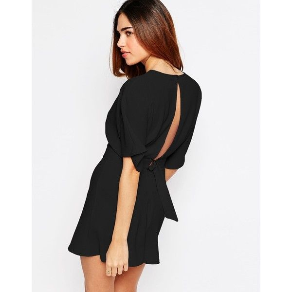 ASOS Kimono Playsuit with Open Back and D-ring (370 MXN) ❤ liked on Polyvore featuring jumpsuits, rompers, romper, black, long-sleeve rompers, tall romper, asos rompers, open back romper and open-back rompers