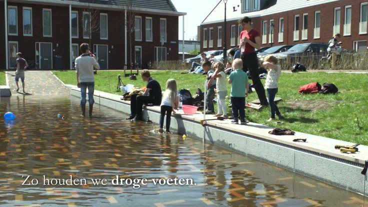 Film van de test van het waterplein Eikendonkplein in 's-Hertogenbosch. Tijdens hevige regen stroomt het plein vol water. Daarmee dragen we bij aan minder overstromingen en een klimaatbestendige stad.