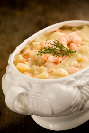 Paula Deen Potato Soup with Shrimp is the best potato soup!! You can leave the shrimp out and it is still great!