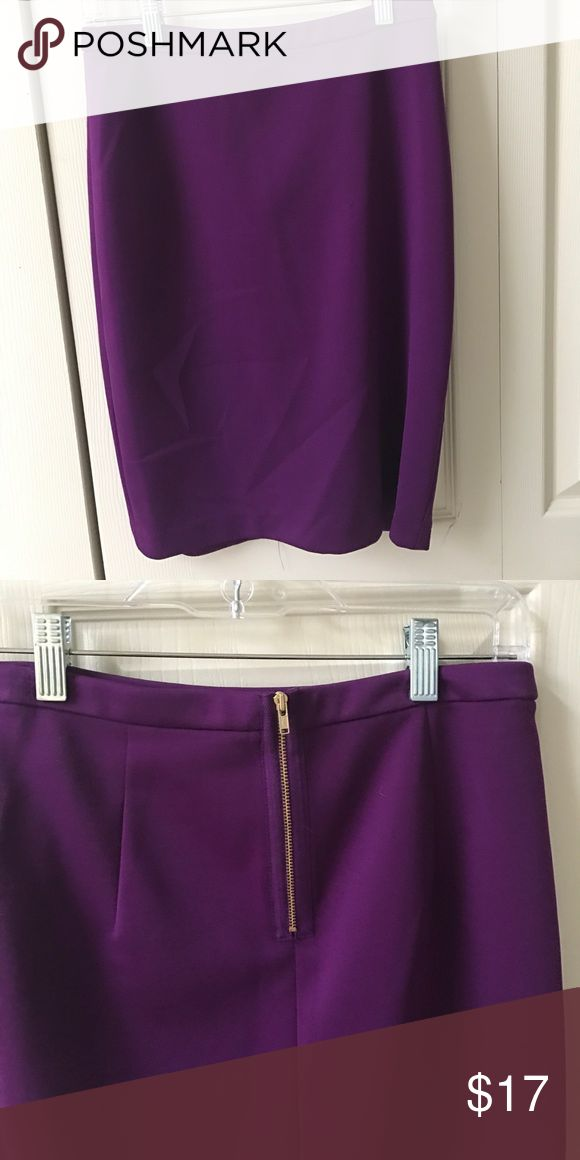 Purple pencil skirt Gold zipper in back The Limited Skirts Pencil