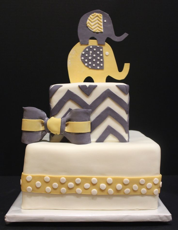 Gray and yellow chevron baby shower cake
