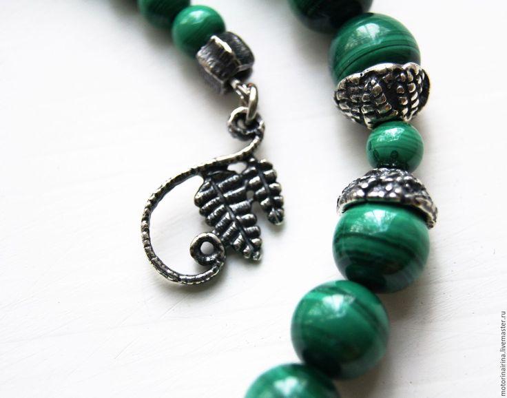 """Купить """"Лесные тайны расскажет папоротник"""" - бусы,чокер из малахита. - зеленый, малахитовый цвет, бусы"""