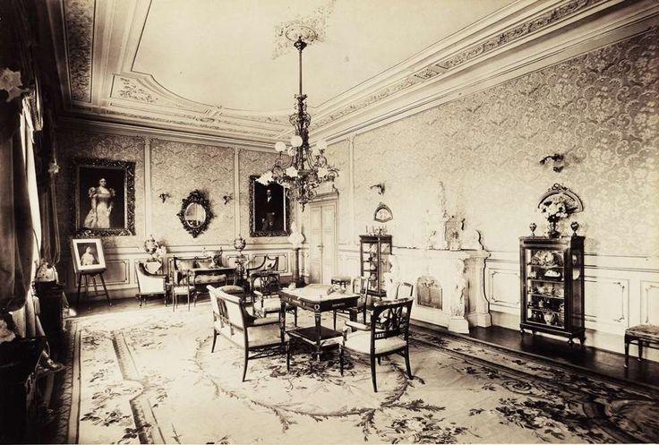 Biedermann-kastély, szalon. A felvétel 1895-1899 között készült. A kép forrását kérjük így adja meg: Fortepan / Budapest Főváros Levéltára. Levéltári jelzet: HU.BFL.XV.19.d.1.13.057