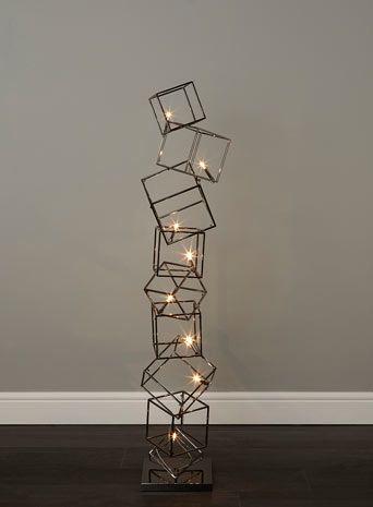 BHS // Illuminate Atelier // Dexter Cube Floor Lamp // Gunmetal cage cube stack floor light