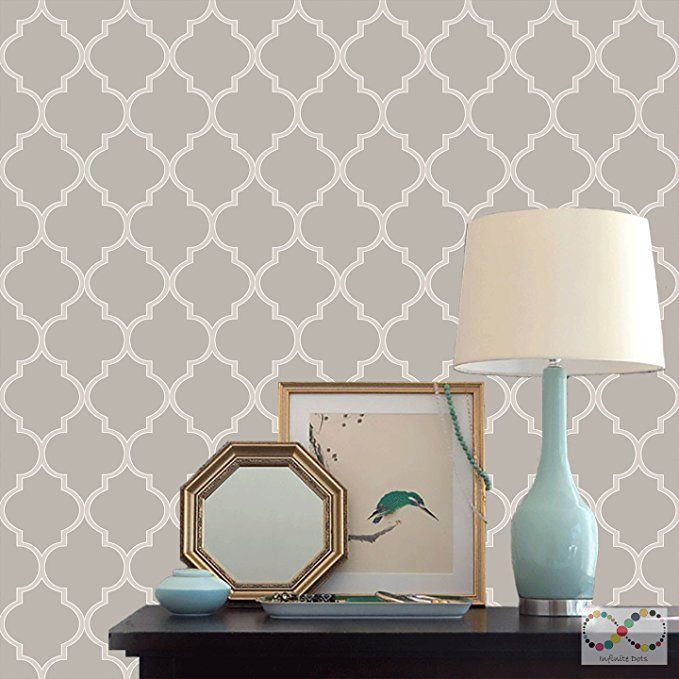 Classic Moroccan Style Peel And Stick Wallpaper 20 5 In X 18 Ft Roll Warm Gray Moroccan Style Peel And Stick Wallpaper Warm Grey