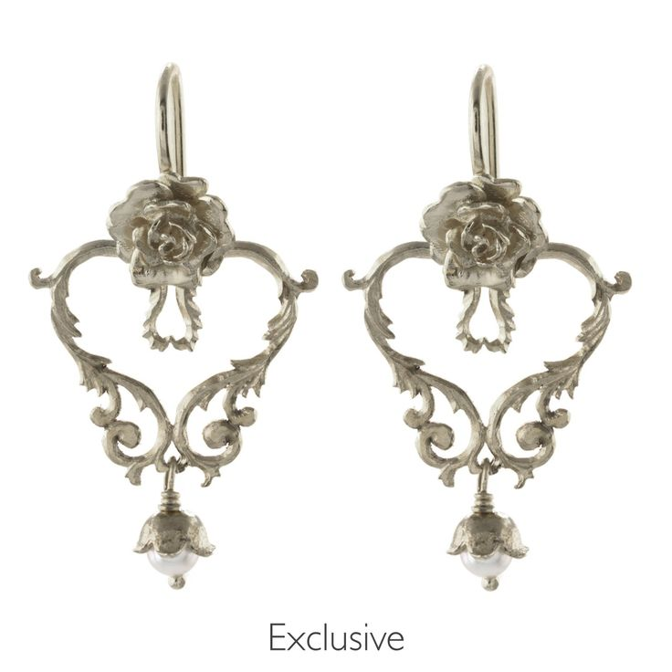 Frond Heart with Rose Hook Earrings